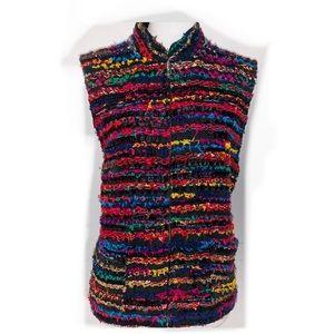 [Chico's] Frayed Ribbon & Yarn Black Vest - 3 (XL)